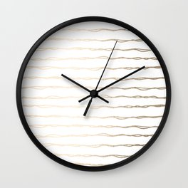 Simply Wavy Lines in White Gold Sands on White Wall Clock