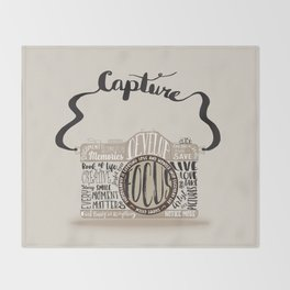 Cute Camera Typography Throw Blanket