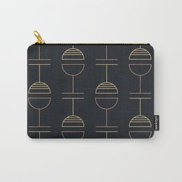 Art Deco Gold Red Ovals on Black Background Carry-All Pouch