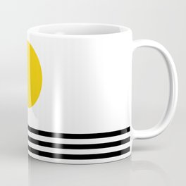 Midcentury Yellow Minimalist Sunset With Black Stripes Coffee Mug