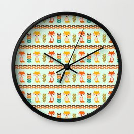 Foxes, grains and leaves Wall Clock