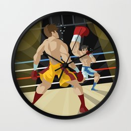 boxer performing an uppercut punch on opponent Wall Clock