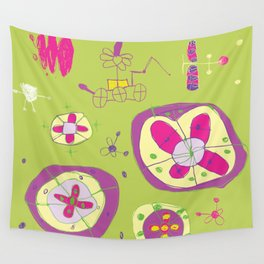 Flower Planets Wall Tapestry