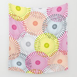 Vintage Geometric Floral Composition - Green, Orange & Pink Wall Tapestry