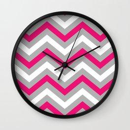 Pink and Grey Chevron  Wall Clock