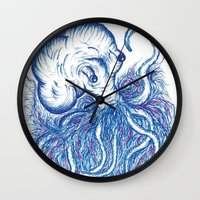 squid Wall Clocks featuring Squid by Katie Alex