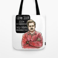 ron swanson Tote Bags featuring Ron Swanson by Tiffany Willis