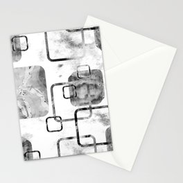 Watercolor and Marble Black and White Geometric Mix Media Stationery Cards