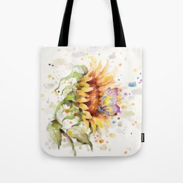 Hand In Hand (Butterfly & Sunflower) Tote Bag