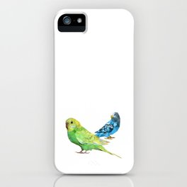 Geometric green and blue parakeets iPhone Case