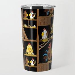 Chicken Coop - by Kara Peters - chickens, farm, illustration, birds Travel Mug