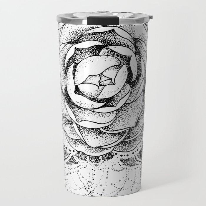 c029abe81 Camellia Dotwork Mandala Travel Mug by robinelizabethart | Society6