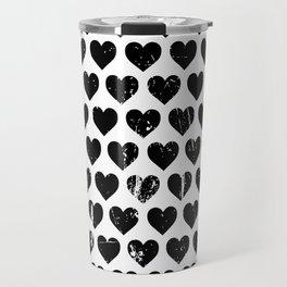 Hearts Pattern | Minimalism | Black-and-White | Modern | Love Travel Mug