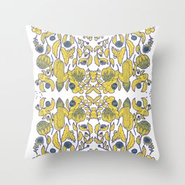 A portuguese tile of wild flowers Throw Pillow
