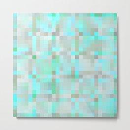 Mint Green & Gray Pixels Metal Print