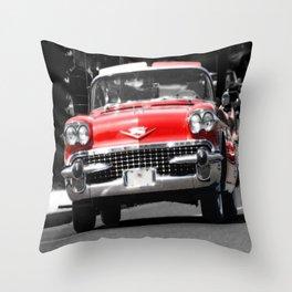 Red Car photography Throw Pillow