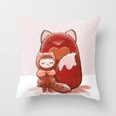 Fox Girl Throw Pillow