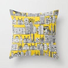 New York yellow Throw Pillow