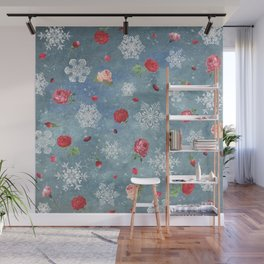 Snow and Roses Wall Mural