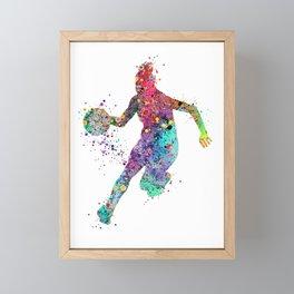 Girl Basketball Watercolor Print Basketball Wall Art Basketball Poster Basketball Wall Decor Framed Mini Art Print