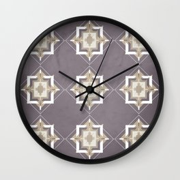 Aubergine and Taupe Mosaic Pattern Wall Clock