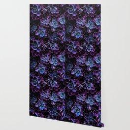 Sparkle Succulents Purple Blue Aqua Wallpaper