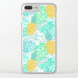Tropical Pineapple and Leaf Pattern Clear iPhone Case