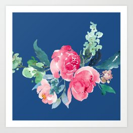 Blue and Pink Peony Watercolor Art Print