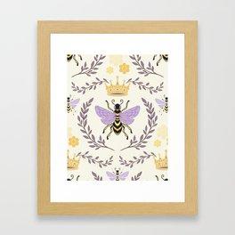 Queen Bee - Lavander Purple and Yellow Framed Art Print