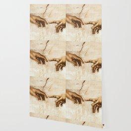 Michelangelo Creation of Adam Hands Wallpaper