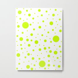 Mixed Polka Dots - Fluorescent Yellow on White Metal Print