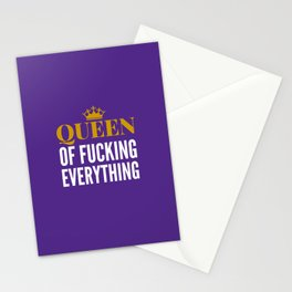 QUEEN OF FUCKING EVERYTHING (Purple) Stationery Cards
