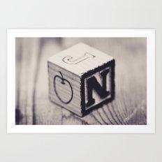 Toy cube... Monochrom Art Print