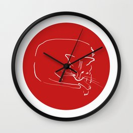 Relaxing Cat in red circle Wall Clock