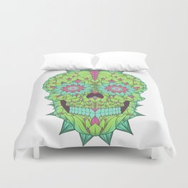 Skull with a floral style Duvet Cover