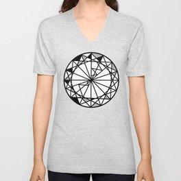 Diamond - round cut geometric design Unisex V-Neck