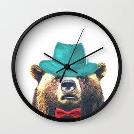 Funny Bear Illustration Wall Clock