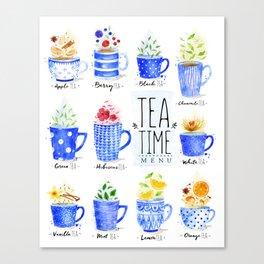 Tea Time Menu Canvas Print