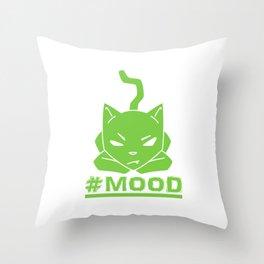 #MOOD Cat Green Throw Pillow