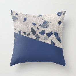 Terrazzo Texture Dark Blue #2 Throw Pillow
