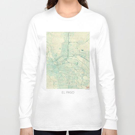 El Paso Map Blue Vintage Long Sleeve T-shirt