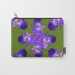 Purple Iris Abstract in Green Carry-All Pouch