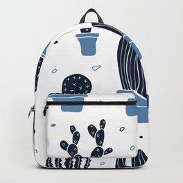 Cactus Plants Pattern- Blue Backpack