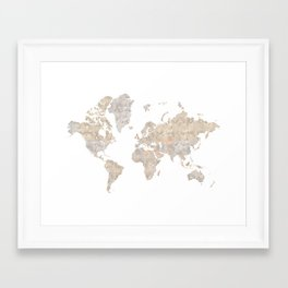 """World map in gray and brown watercolor """"Abey"""" Framed Art Print"""