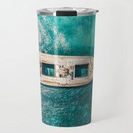 Ay Ay Captain, Aerial Print, Shipwreck Print, Art Print, Modern Wall Art, Sea Print, Ocean Print Travel Mug