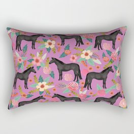 black beauty, mare, horse, horses, floral, florals, black horse, horse bedding, horse decor, cowgirl Rectangular Pillow