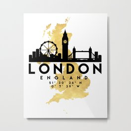 LONDON ENGLAND SILHOUETTE SKYLINE MAP ART Metal Print