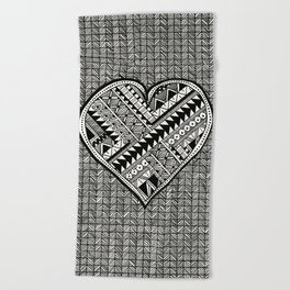Modern, black and white, geometric shaped heart Beach Towel