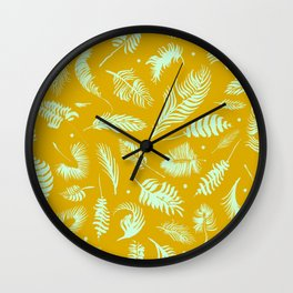 Golden palm pattern with bright mint color Wall Clock