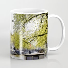 Lovely Spring Trees over a Canal in the Jordaan District in Amsterdam, Netherlands Coffee Mug